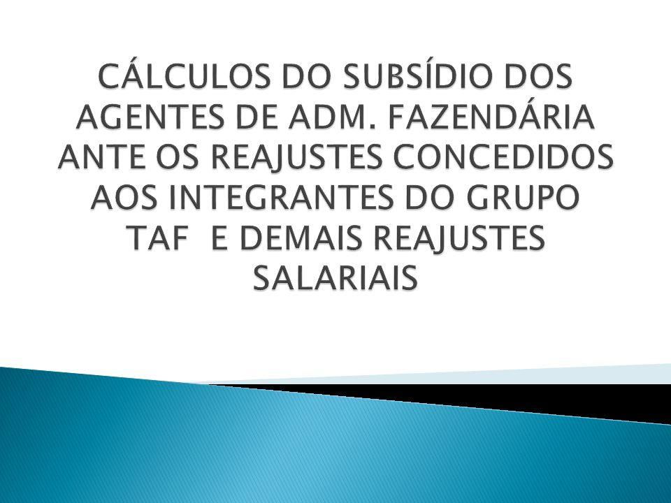 OS REAJUSTES CONCEDIDOS PELA LEI COMPLEMENTAR Nº 363/2009 DE 22/07/2009, EFEITOS FINANCEIROS A PARTIR DE OUT/2009; OS REAJUSTES CONCEDIDOS PELA LEI COMPLEMENTAR Nº 422/2011 DE 26/05/2011, EFEITOS FINANCEIROS A PARTIR DE 30/04/2011; INDICES DE REVISÃO GERAL ANUAL DO SUBSÍDIO DOS SERV.