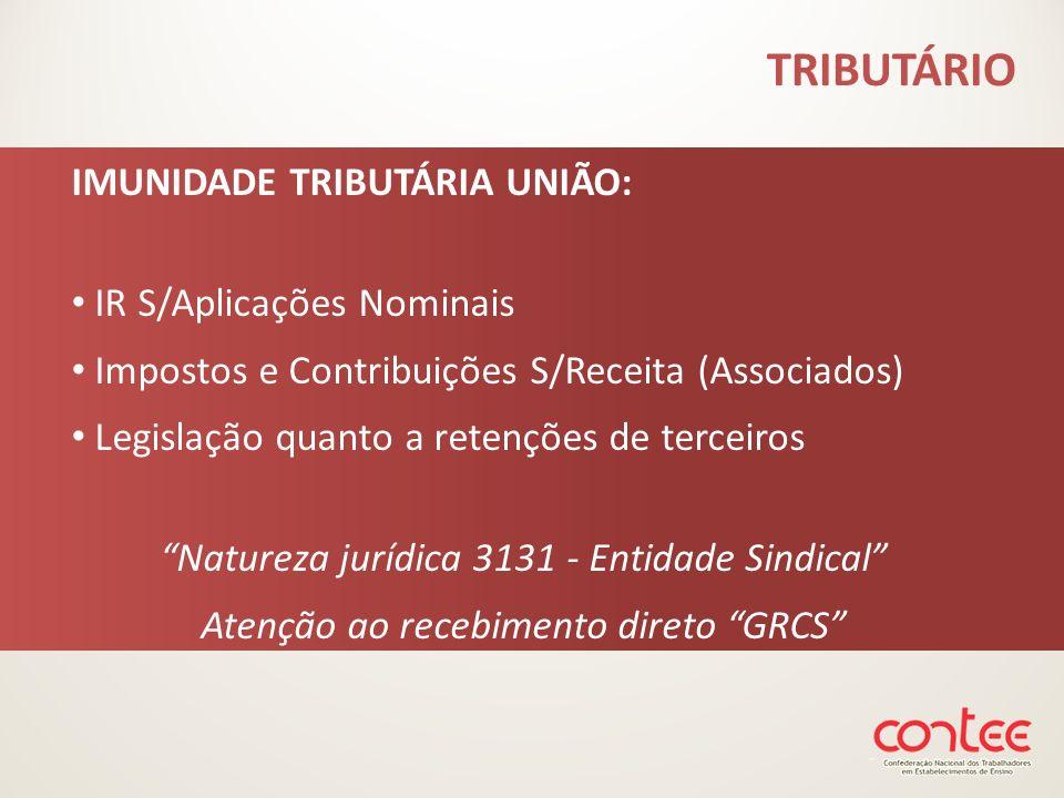IMUNIDADE TRIBUTÁRIA UNIÃO: IR S/Aplicações Nominais Impostos e Contribuições S/Receita (Associados) Legislação quanto a retenções de terceiros Nature