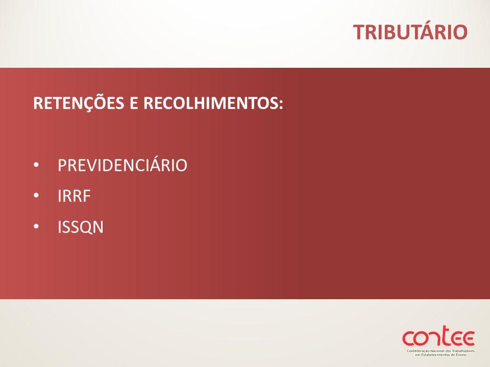 RETENÇÕES E RECOLHIMENTOS: PREVIDENCIÁRIO IRRF ISSQN TRIBUTÁRIO
