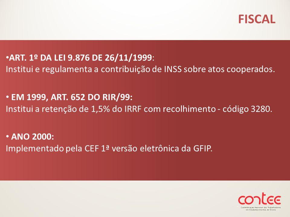 ART. 1º DA LEI 9.876 DE 26/11/1999: Institui e regulamenta a contribuição de INSS sobre atos cooperados. EM 1999, ART. 652 DO RIR/99: Institui a reten