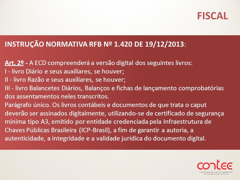 INSTRUÇÃO NORMATIVA RFB Nº 1.420 DE 19/12/2013: Art. 2º - A ECD compreenderá a versão digital dos seguintes livros: I - livro Diário e seus auxiliares