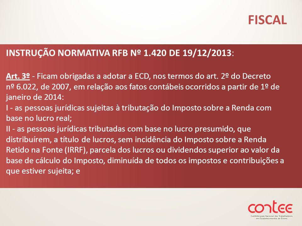 INSTRUÇÃO NORMATIVA RFB Nº 1.420 DE 19/12/2013: Art. 3º - Ficam obrigadas a adotar a ECD, nos termos do art. 2º do Decreto nº 6.022, de 2007, em relaç