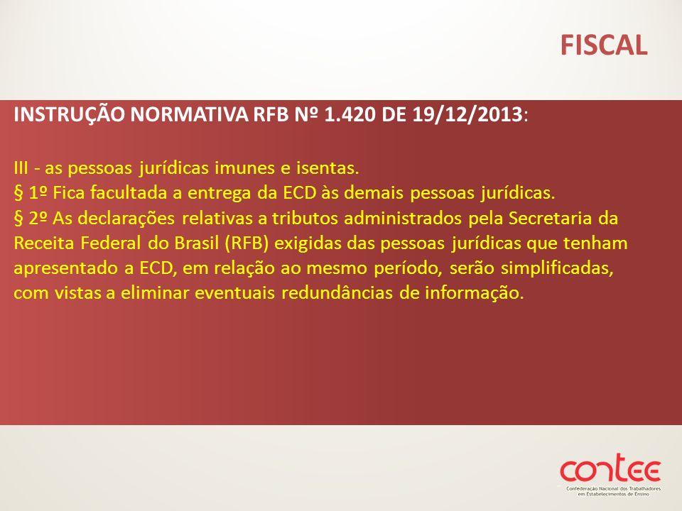 INSTRUÇÃO NORMATIVA RFB Nº 1.420 DE 19/12/2013: III - as pessoas jurídicas imunes e isentas. § 1º Fica facultada a entrega da ECD às demais pessoas ju