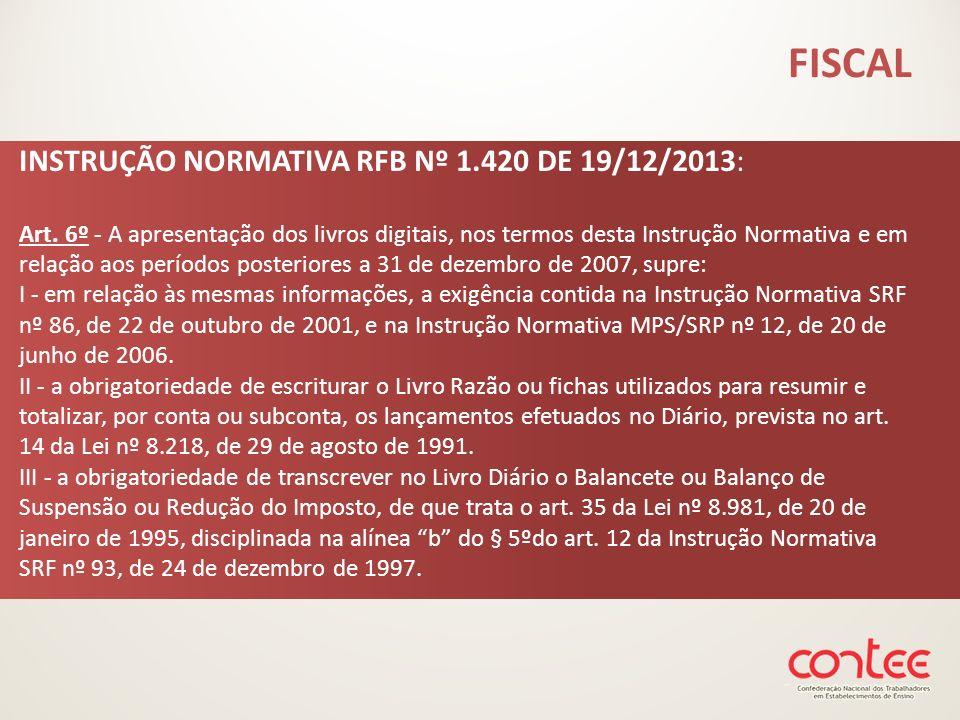 INSTRUÇÃO NORMATIVA RFB Nº 1.420 DE 19/12/2013: Art. 6º - A apresentação dos livros digitais, nos termos desta Instrução Normativa e em relação aos pe