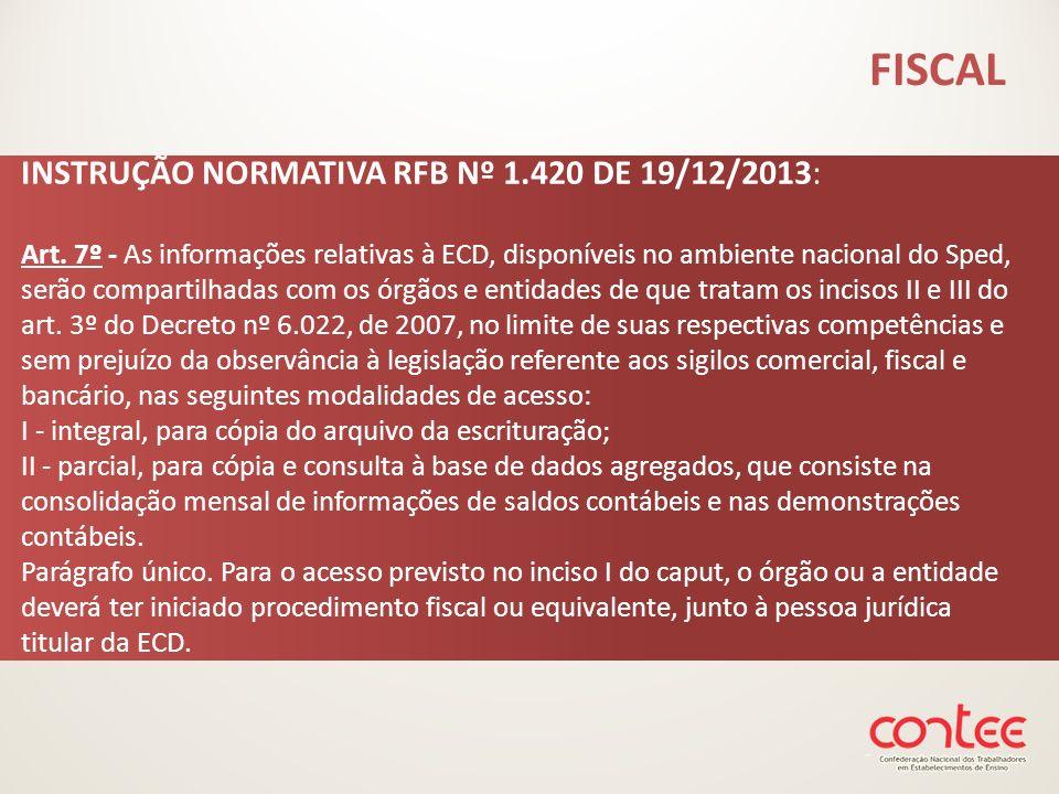 INSTRUÇÃO NORMATIVA RFB Nº 1.420 DE 19/12/2013: Art. 7º - As informações relativas à ECD, disponíveis no ambiente nacional do Sped, serão compartilhad
