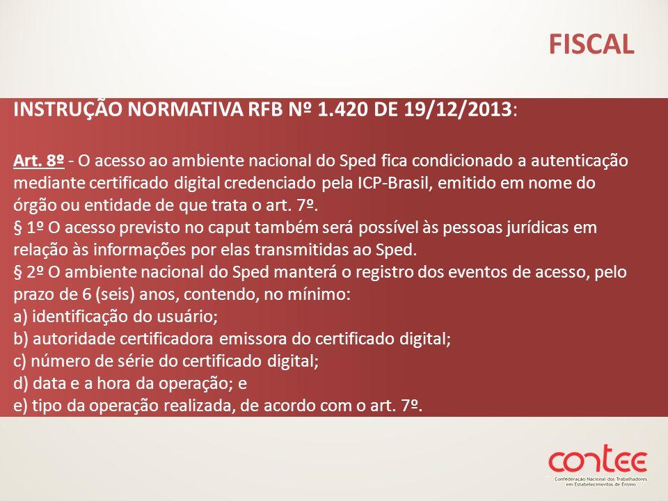 INSTRUÇÃO NORMATIVA RFB Nº 1.420 DE 19/12/2013: Art. 8º - O acesso ao ambiente nacional do Sped fica condicionado a autenticação mediante certificado