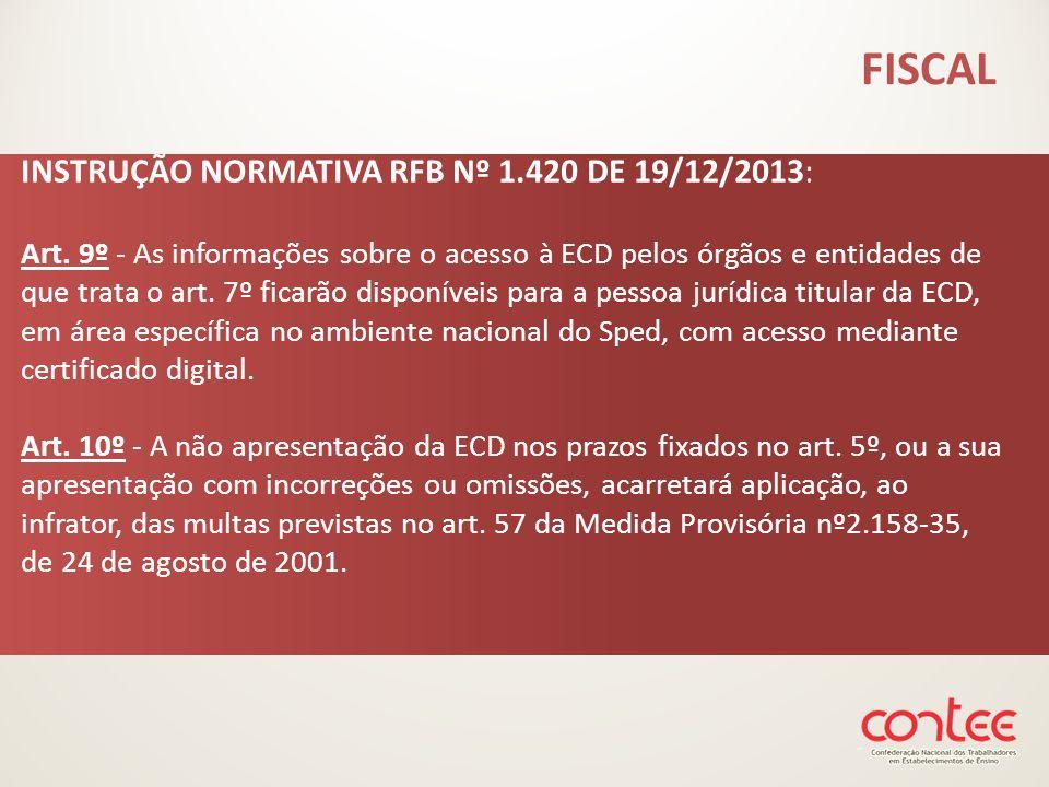 INSTRUÇÃO NORMATIVA RFB Nº 1.420 DE 19/12/2013: Art. 9º - As informações sobre o acesso à ECD pelos órgãos e entidades de que trata o art. 7º ficarão