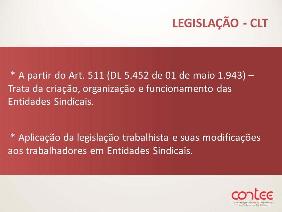 * A partir do Art. 511 (DL 5.452 de 01 de maio 1.943) – Trata da criação, organização e funcionamento das Entidades Sindicais. * Aplicação da legislaç