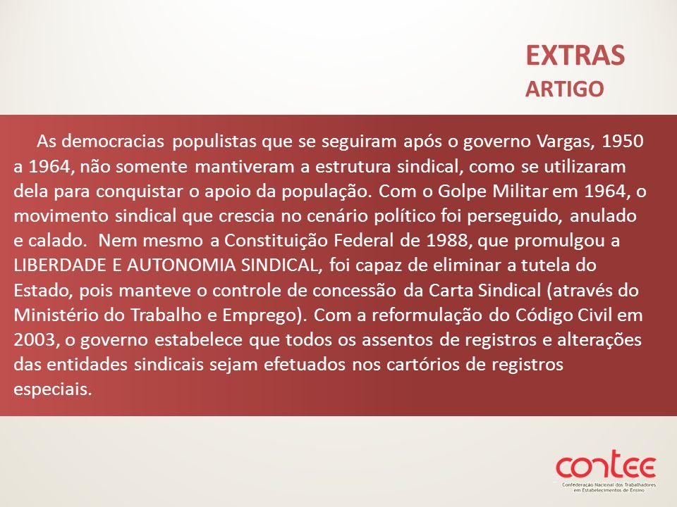 As democracias populistas que se seguiram após o governo Vargas, 1950 a 1964, não somente mantiveram a estrutura sindical, como se utilizaram dela par