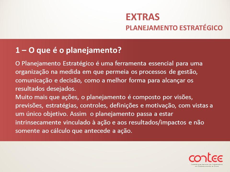 EXTRAS PLANEJAMENTO ESTRATÉGICO 1 – O que é o planejamento? O Planejamento Estratégico é uma ferramenta essencial para uma organização na medida em qu