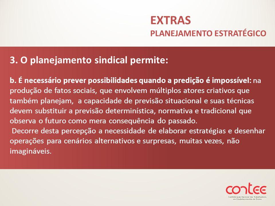 3. O planejamento sindical permite: b. É necessário prever possibilidades quando a predição é impossível: na produção de fatos sociais, que envolvem m