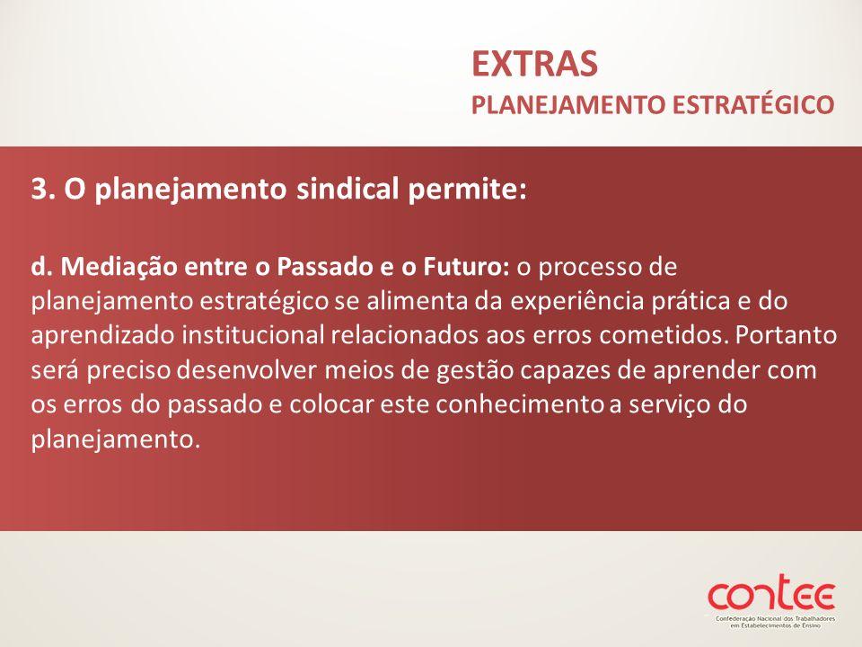 3. O planejamento sindical permite: d. Mediação entre o Passado e o Futuro: o processo de planejamento estratégico se alimenta da experiência prática