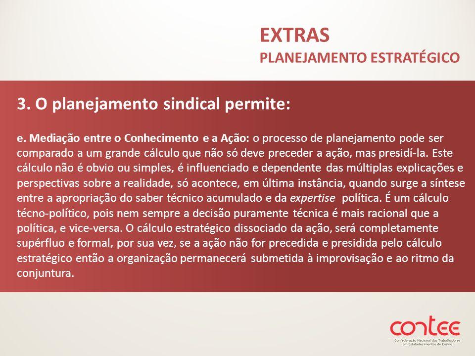 3. O planejamento sindical permite: e. Mediação entre o Conhecimento e a Ação: o processo de planejamento pode ser comparado a um grande cálculo que n