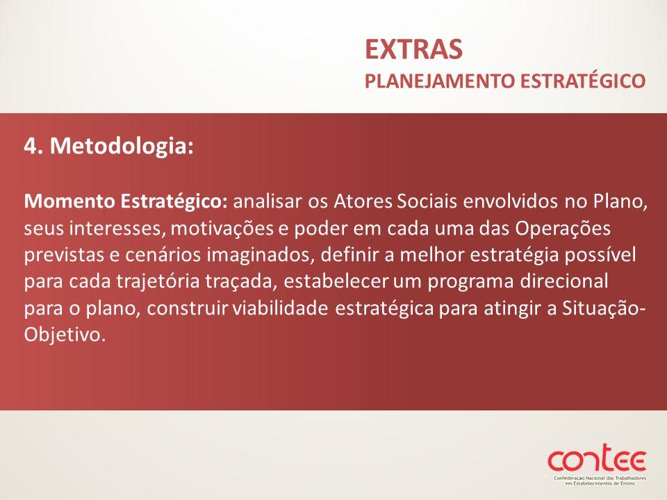 4. Metodologia: Momento Estratégico: analisar os Atores Sociais envolvidos no Plano, seus interesses, motivações e poder em cada uma das Operações pre