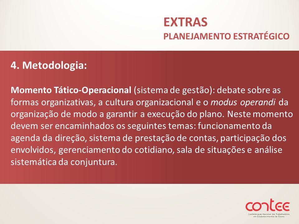 EXTRAS PLANEJAMENTO ESTRATÉGICO 4. Metodologia: Momento Tático-Operacional (sistema de gestão): debate sobre as formas organizativas, a cultura organi