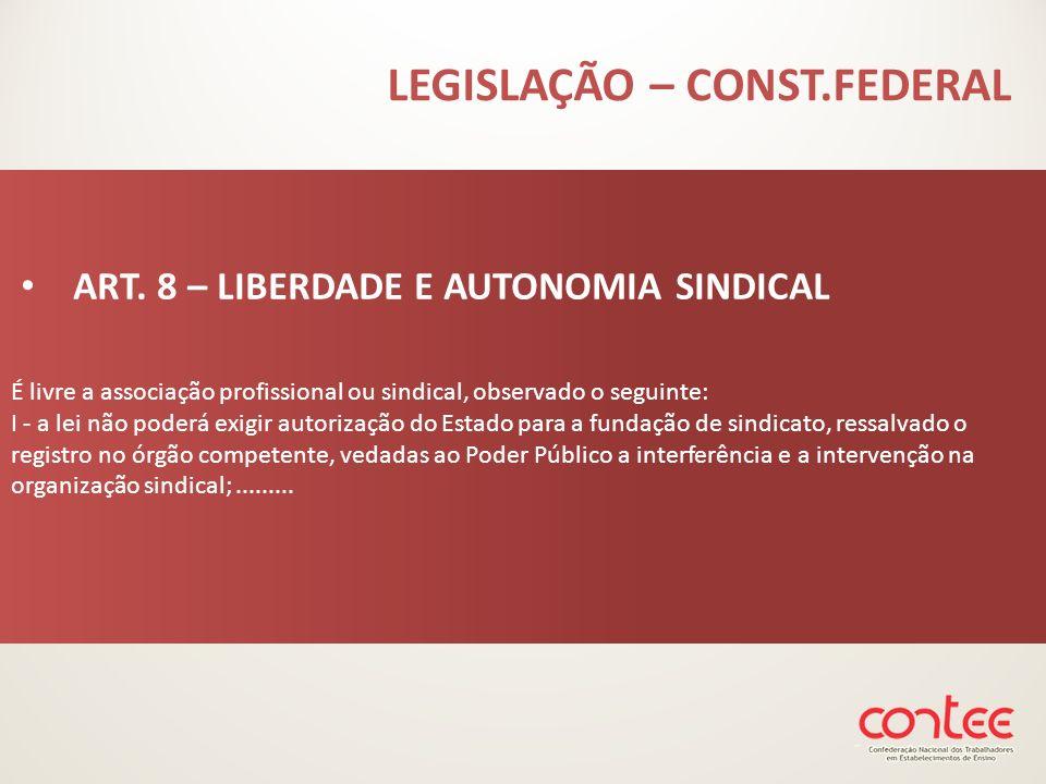 É livre a associação profissional ou sindical, observado o seguinte: I - a lei não poderá exigir autorização do Estado para a fundação de sindicato, r