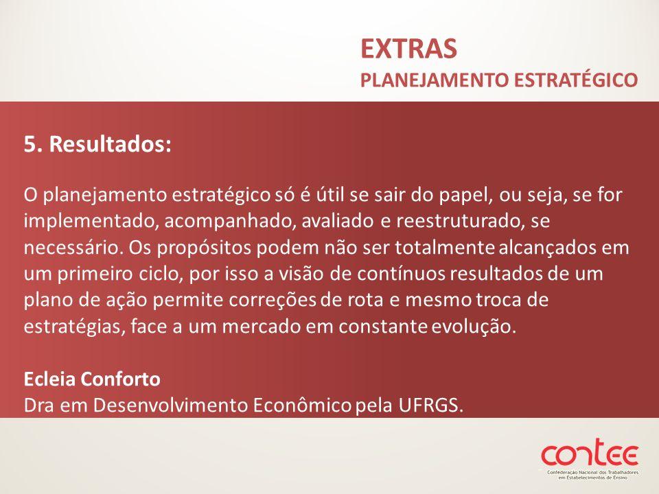 EXTRAS PLANEJAMENTO ESTRATÉGICO 5. Resultados: O planejamento estratégico só é útil se sair do papel, ou seja, se for implementado, acompanhado, avali