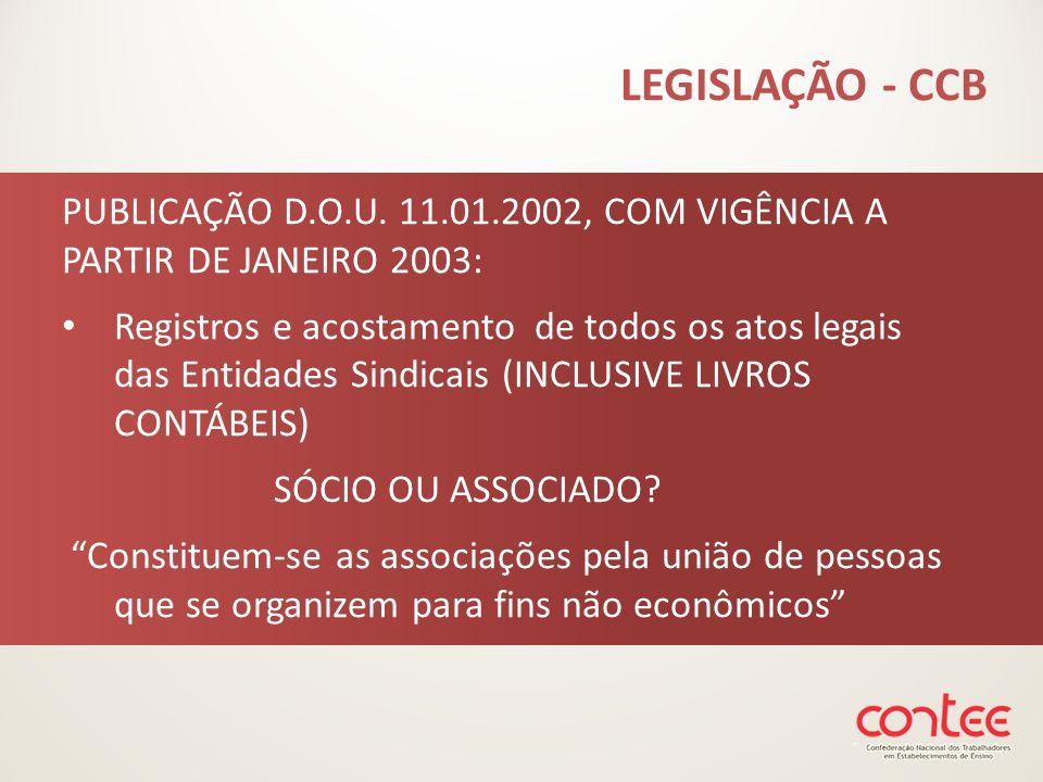 PUBLICAÇÃO D.O.U. 11.01.2002, COM VIGÊNCIA A PARTIR DE JANEIRO 2003: Registros e acostamento de todos os atos legais das Entidades Sindicais (INCLUSIV