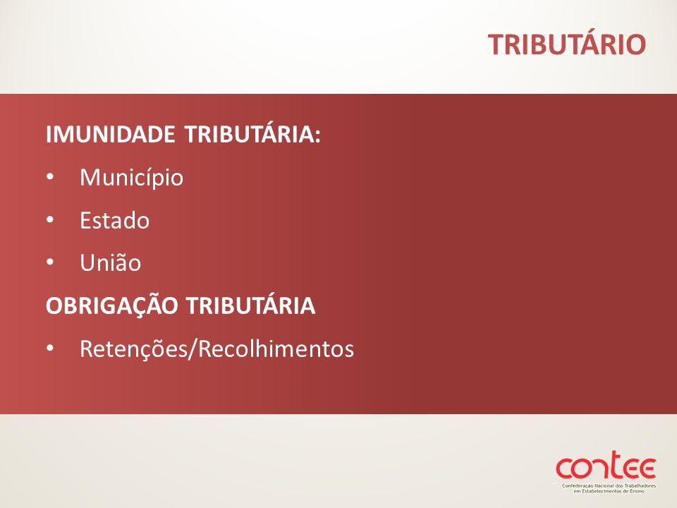 TRIBUTÁRIO IMUNIDADE TRIBUTÁRIA: Município Estado União OBRIGAÇÃO TRIBUTÁRIA Retenções/Recolhimentos