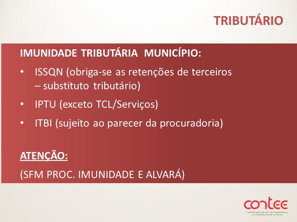 IMUNIDADE TRIBUTÁRIA MUNICÍPIO: ISSQN (obriga-se as retenções de terceiros – substituto tributário) IPTU (exceto TCL/Serviços) ITBI (sujeito ao parece