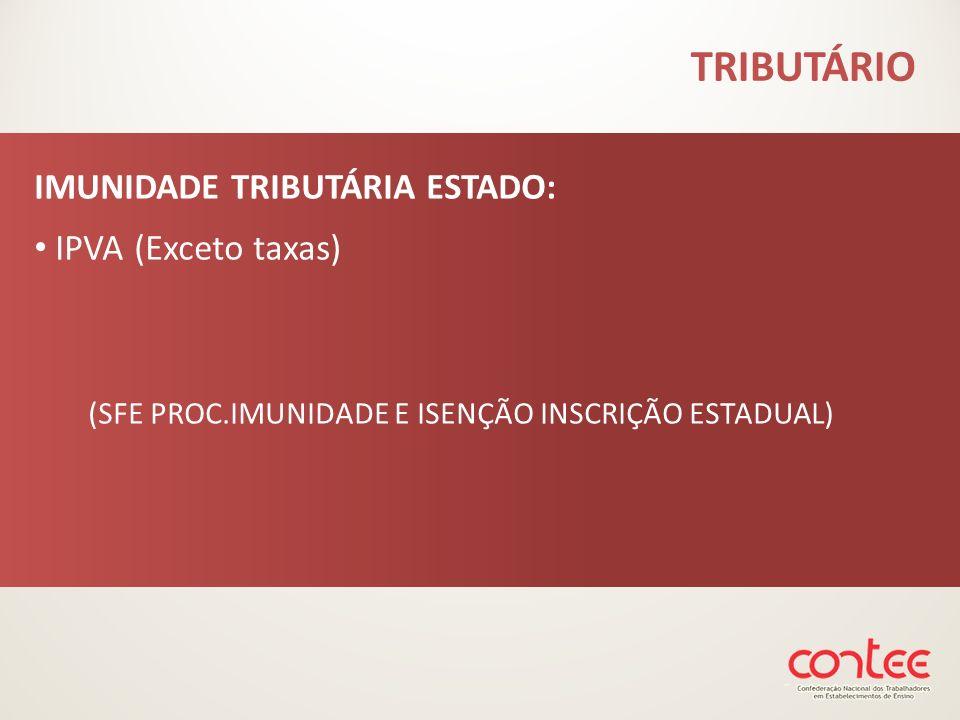 IMUNIDADE TRIBUTÁRIA ESTADO: IPVA (Exceto taxas) (SFE PROC.IMUNIDADE E ISENÇÃO INSCRIÇÃO ESTADUAL)