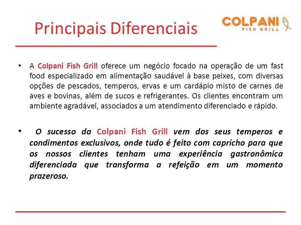 Principais Diferenciais A Colpani Fish Grill oferece um negócio focado na operação de um fast food especializado em alimentação saudável à base peixes