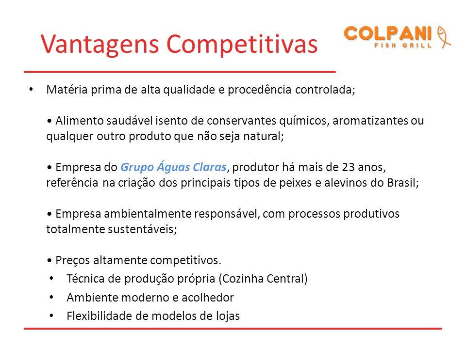Vantagens Competitivas Matéria prima de alta qualidade e procedência controlada; Alimento saudável isento de conservantes químicos, aromatizantes ou q