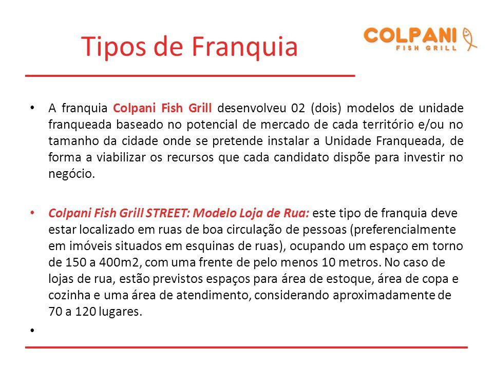Tipos de Franquia A franquia Colpani Fish Grill desenvolveu 02 (dois) modelos de unidade franqueada baseado no potencial de mercado de cada território