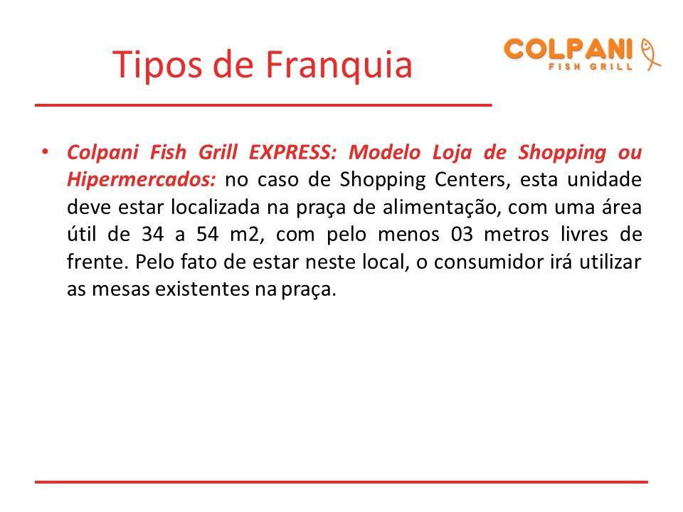 Tipos de Franquia Colpani Fish Grill EXPRESS: Modelo Loja de Shopping ou Hipermercados: no caso de Shopping Centers, esta unidade deve estar localizad