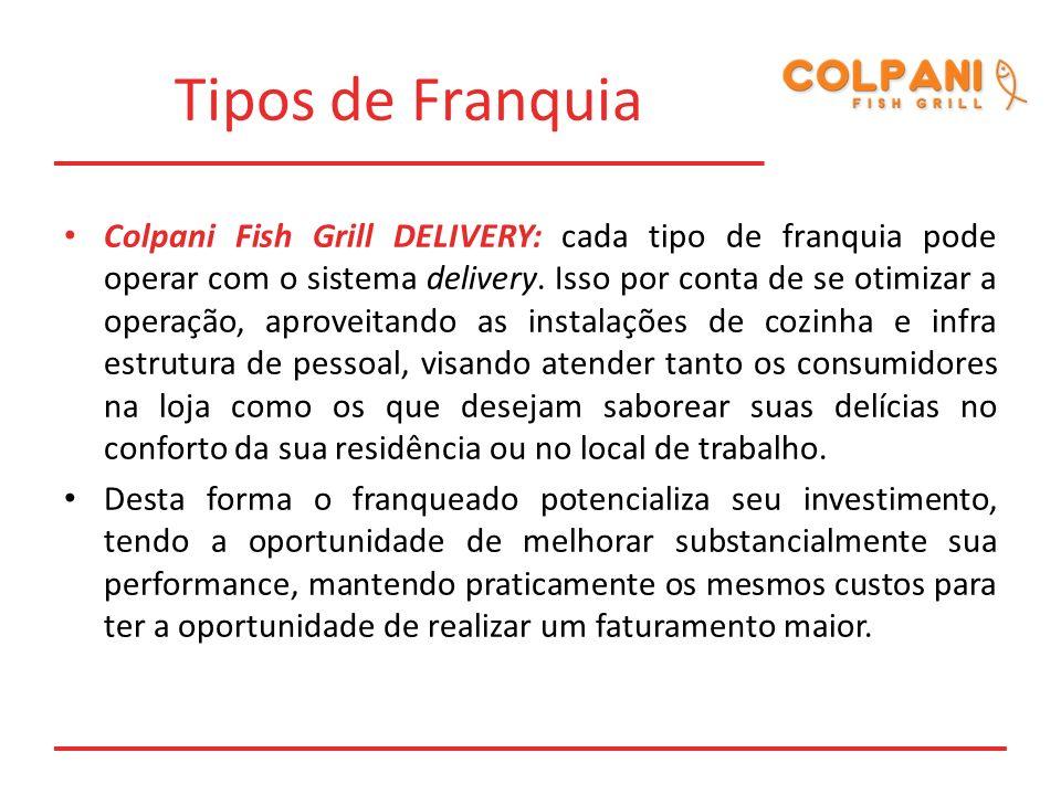 Tipos de Franquia Colpani Fish Grill DELIVERY: cada tipo de franquia pode operar com o sistema delivery. Isso por conta de se otimizar a operação, apr