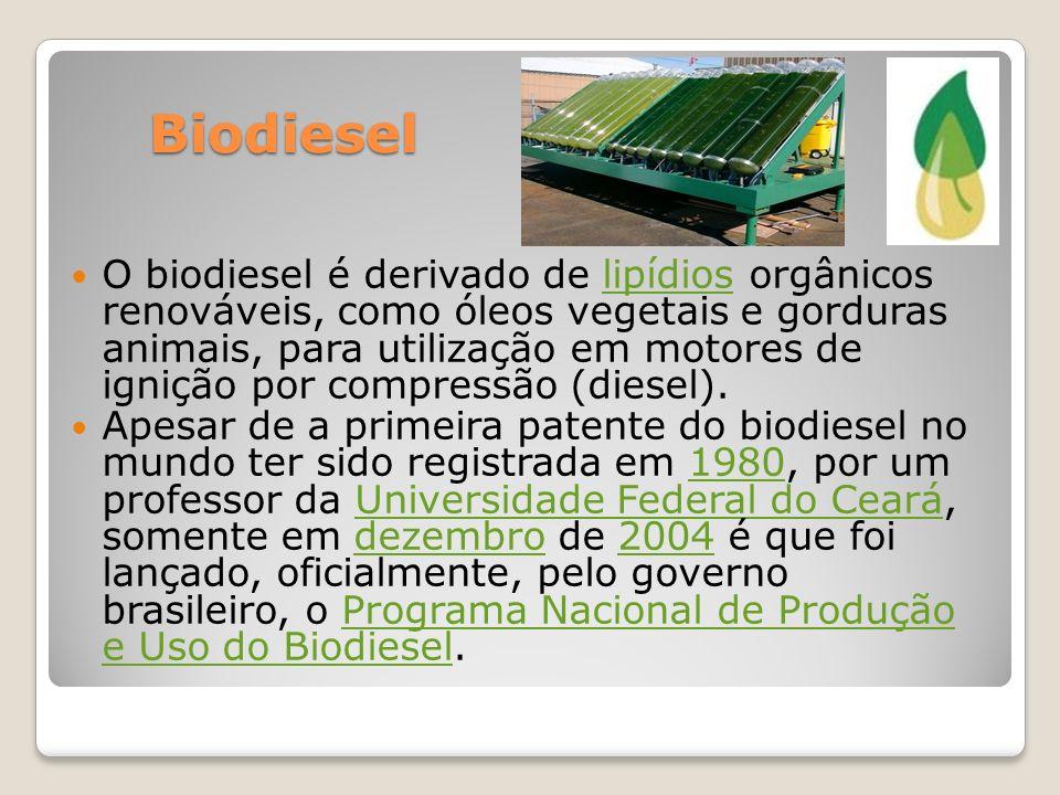 Biodiesel Biodiesel O biodiesel é derivado de lipídios orgânicos renováveis, como óleos vegetais e gorduras animais, para utilização em motores de ign