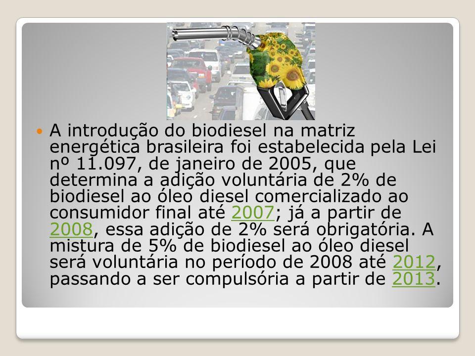 A introdução do biodiesel na matriz energética brasileira foi estabelecida pela Lei nº 11.097, de janeiro de 2005, que determina a adição voluntária d