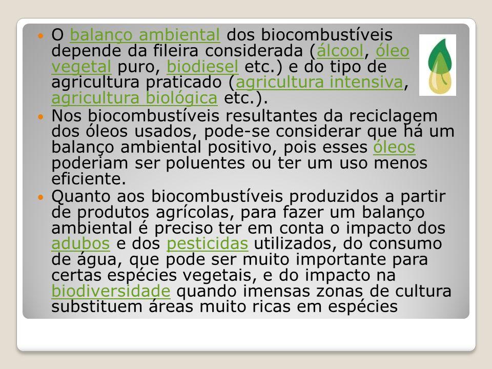 O balanço ambiental dos biocombustíveis depende da fileira considerada (álcool, óleo vegetal puro, biodiesel etc.) e do tipo de agricultura praticado