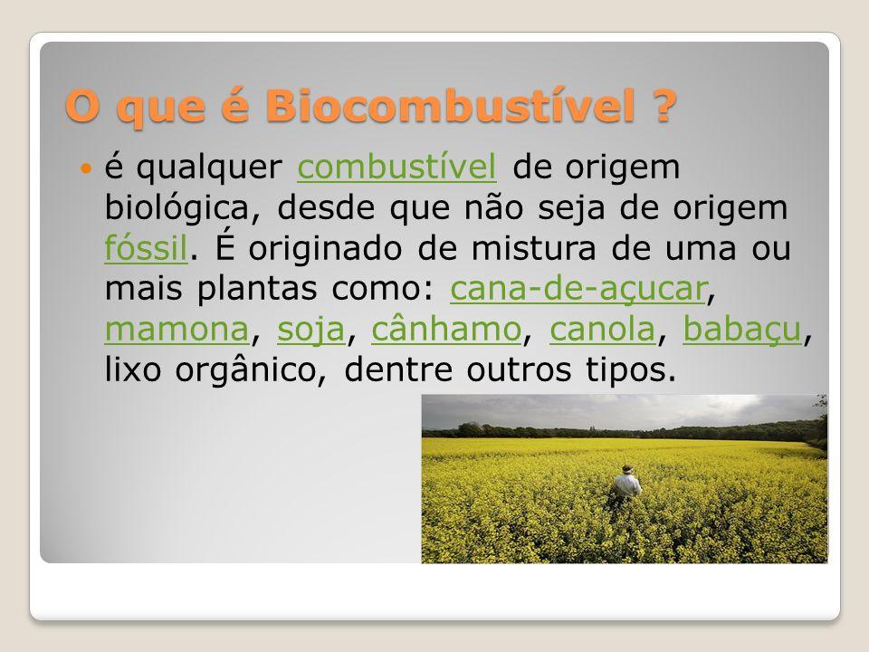 O que é Biocombustível ? O que é Biocombustível ? é qualquer combustível de origem biológica, desde que não seja de origem fóssil. É originado de mist