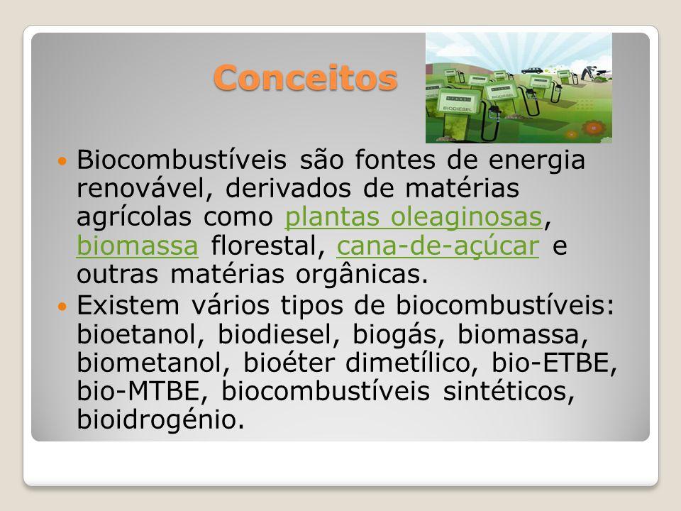 Conceitos Conceitos Biocombustíveis são fontes de energia renovável, derivados de matérias agrícolas como plantas oleaginosas, biomassa florestal, can