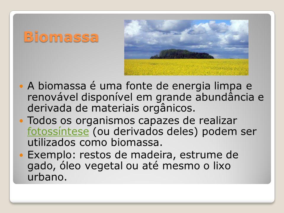 Biomassa Biomassa A biomassa é uma fonte de energia limpa e renovável disponível em grande abundância e derivada de materiais orgânicos. Todos os orga