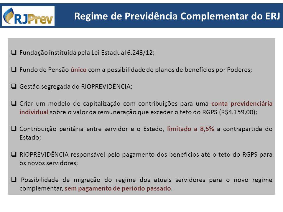 Fundação instituída pela Lei Estadual 6.243/12; Fundo de Pensão único com a possibilidade de planos de benefícios por Poderes; Gestão segregada do RIO