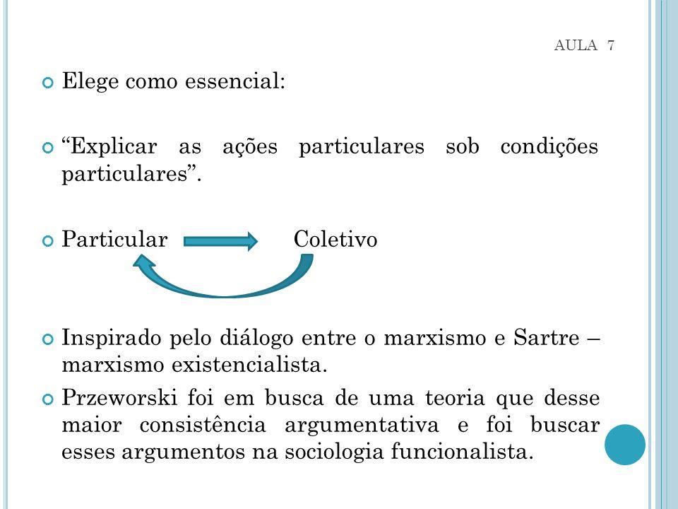AULA 7 Elege como essencial: Explicar as ações particulares sob condições particulares.
