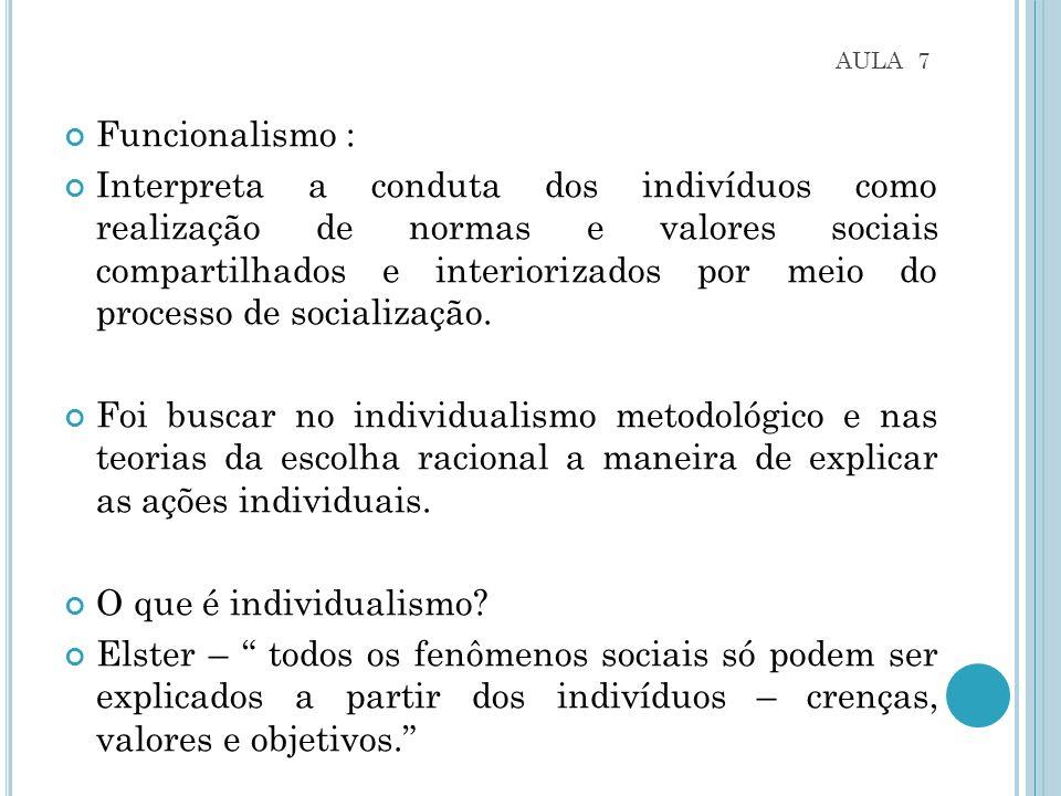 AULA 7 Funcionalismo : Interpreta a conduta dos indivíduos como realização de normas e valores sociais compartilhados e interiorizados por meio do processo de socialização.