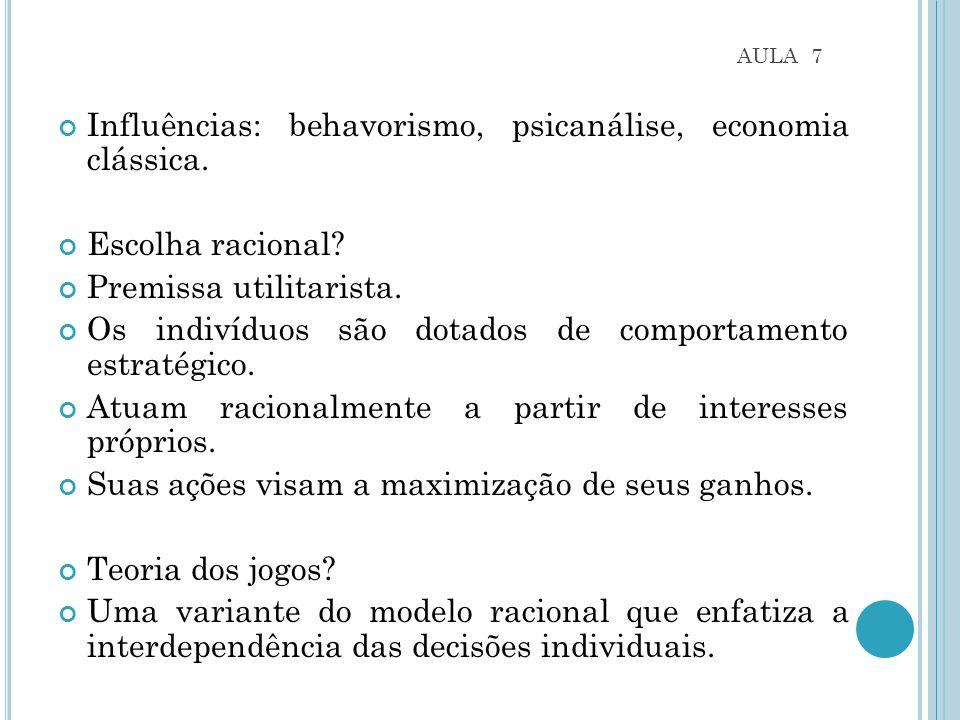 AULA 7 Influências: behavorismo, psicanálise, economia clássica.