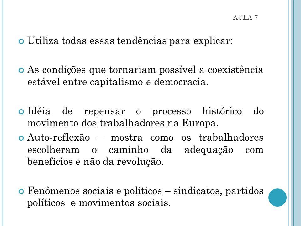 AULA 7 Utiliza todas essas tendências para explicar: As condições que tornariam possível a coexistência estável entre capitalismo e democracia.