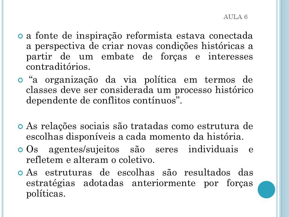 AULA 6 a fonte de inspiração reformista estava conectada a perspectiva de criar novas condições históricas a partir de um embate de forças e interesses contraditórios.