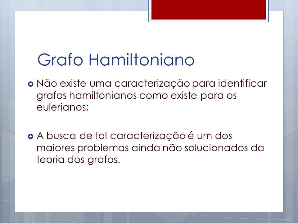 Grafo Hamiltoniano Não existe uma caracterização para identificar grafos hamiltonianos como existe para os eulerianos; A busca de tal caracterização é