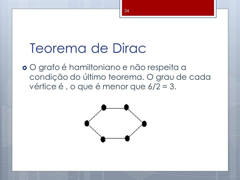 Teorema de Dirac O grafo é hamiltoniano e não respeita a condição do último teorema. O grau de cada vértice é, o que é menor que 6/2 = 3. 24
