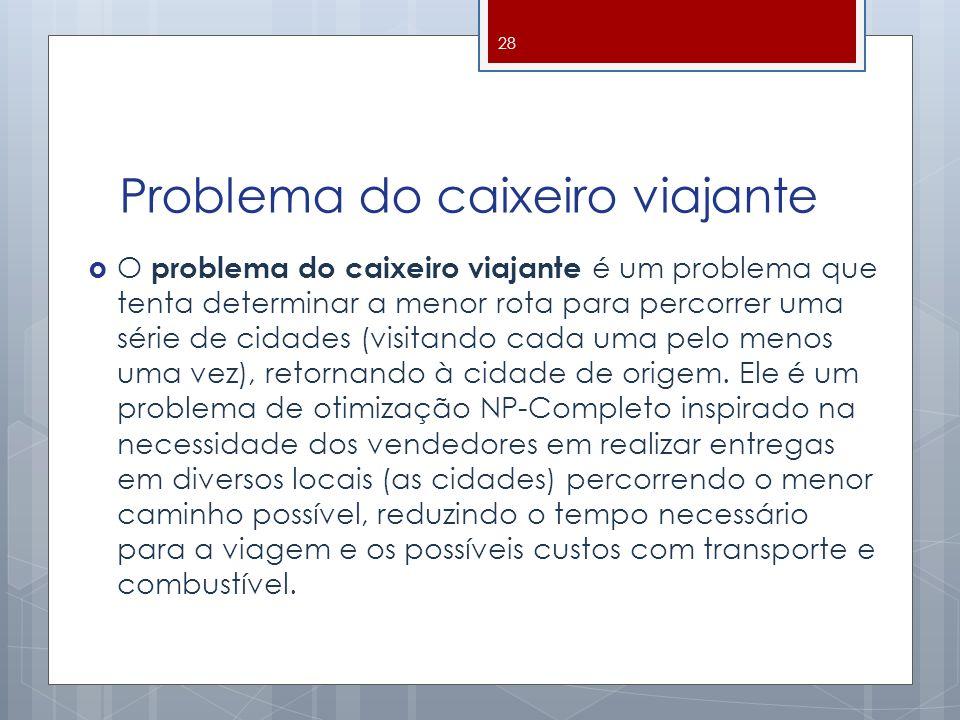 Problema do caixeiro viajante O problema do caixeiro viajante é um problema que tenta determinar a menor rota para percorrer uma série de cidades (vis