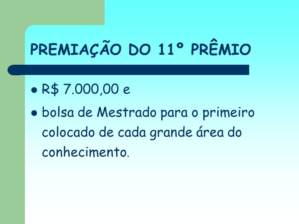 PREMIAÇÃO DO 11º PRÊMIO R$ 7.000,00 e bolsa de Mestrado para o primeiro colocado de cada grande área do conhecimento.