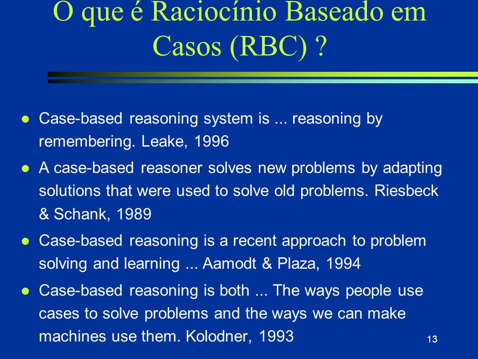 12 Experiência: o que o especialista tem de mais valioso l Case-based reasoning system n Um método de resolução de problemas onde novos problemas são