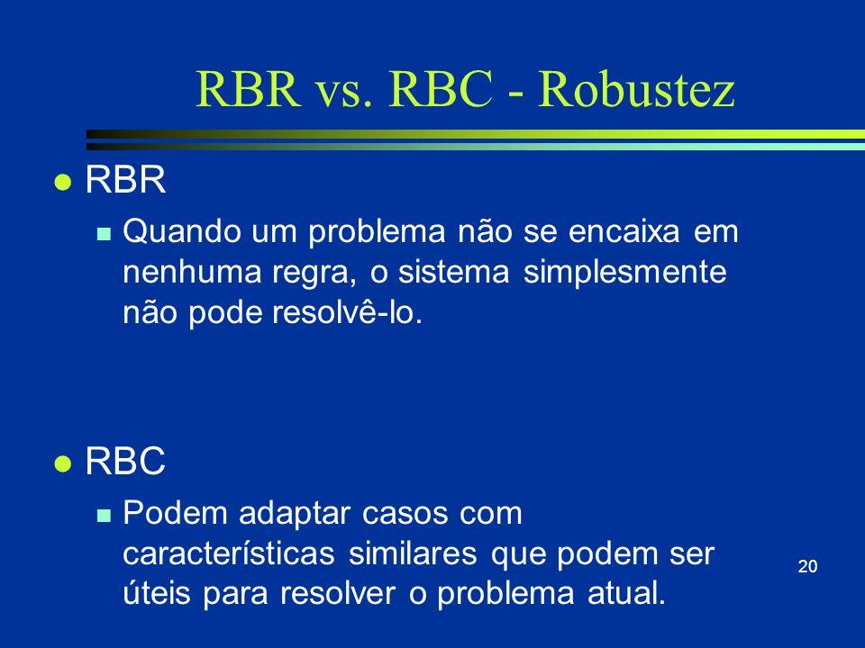 RBR vs. RBC - Memória l RBR n Não possuem memória, o que obriga a construção de soluções sempre a partir do zero. Erros anteriores tendem a acontecer