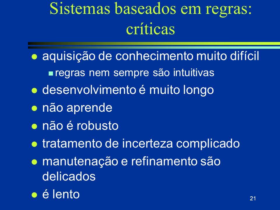 RBR vs. RBC - Robustez l RBR n Quando um problema não se encaixa em nenhuma regra, o sistema simplesmente não pode resolvê-lo. l RBC n Podem adaptar c