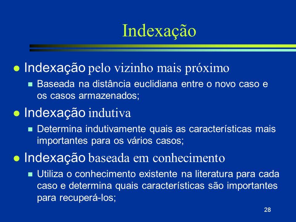 27 Indexação l Interpretação de situação n os índices realmente relevantes para um problema/situação em particular preço ano modelo marca opcionais ki